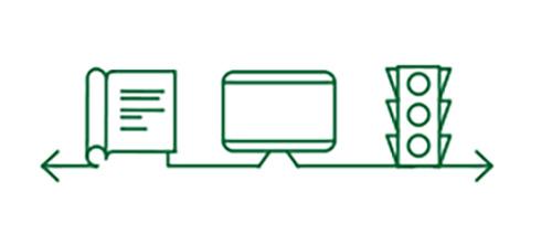 장거리 시력을 알려주는 책, 컴퓨터, 신호등 아이콘